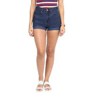 Hypernation Solid Womens Dark Blue Denim Shorts