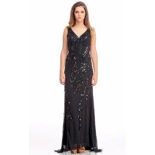 21187ceb7980 Buy Designer Jorge Terra (Spain) long party dress gown - front back  embellished with black beads on black tulle Online - Get 76% Off