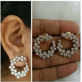 American Diamond Moon Earring