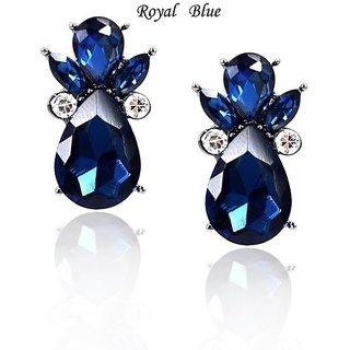 European Blue Glass Stone Earrings