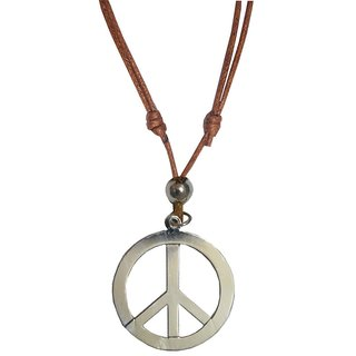 Men Style Peace Sign Symbol  Silver  Leather Classic Design Pendent For Men And Women