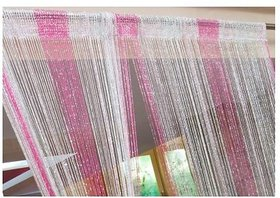 RAMCHA PINK AND WHITE SILVER SHINING CURTAIN - SET OF 2 PCS.
