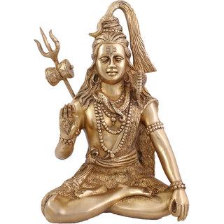 Arihant Craft Hindu God Shiva Idol Bhole Baba statue Lord Mahadev Sculpture Hand Work Showpiece  29.5 cm (Brass, Gold)