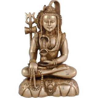 Arihant Craft Hindu God Shiva Idol Bhole baba statue lord Mahadev Sculpture Hand Work Showpiece  24.5 cm (Brass, Gold)