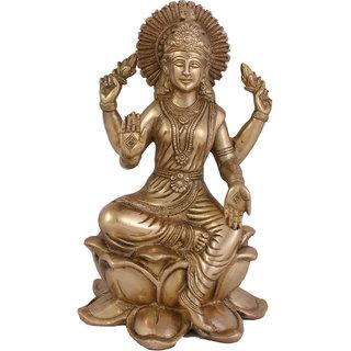 Arihant Craft Hindu Goddess Lakshmi Idol Laxmi statue Maa Lakshmi Sculpture Hand Work Showpiece  25.5 cm (Brass, Gold)