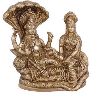 Arihant Craft Hindu God Lakshmi Narayan Idol Vishnu Laxmi Statue Sculpture Hand Made Showpiece  22 cm (Brass, Gold)