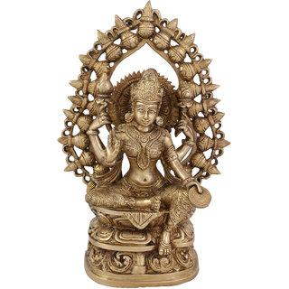 Arihant Craft Hindu Goddess Lakshmi Idol Laxmi statue Maa Lakshmi Sculpture Hand Work Showpiece  27 cm (Brass, Gold)