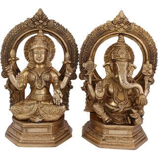 Arihant Craft Hindu God Lakshmi Ganesha Idol  Statue Sculpture Hand Work Showpiece  24.5 cm (Brass, Gold)