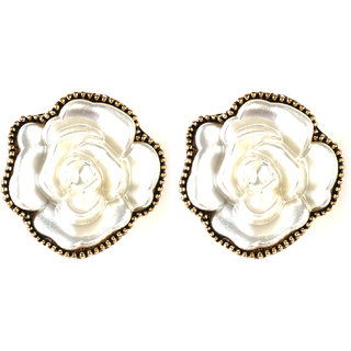 JAZZ CZ Flower Design White Color Earring For Women (JER319)