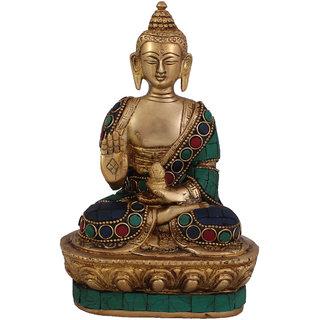 Arihant Craft Ethnic Decor Lord Buddha Idol Buddha Statue Sculpture Turquoise Stone Showpiece  17.5 cm (Brass, Multicolour)