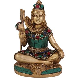 Arihant Craft Hindu God Shiva Idol Lord Shiva Statue Mahadev Sculpture Stone Hand Work Showpiece  13.8 cm (Brass, Multicolour)