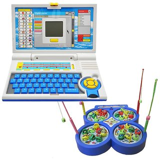 Kids English Learner Computer toy  with Fishing Catching Game
