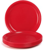 Dinner Plate Set  - Solid Plain Round Plastic Plates - Set of 6 - By Incrizma