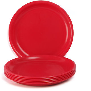 Dinner Plate Set - Solid Plain Round Plastic Plates - Set of 6 - By Incrizma  sc 1 st  Shopclues & Buy Dinner Plate Set - Solid Plain Round Plastic Plates - Set of 6 ...