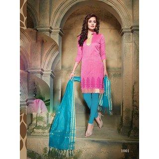 Trendz Apparels Pink Pure Banarasi Printed Unstitched Straight Fit Salwar Suit