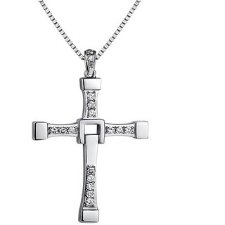Caratcube Fast And Furious Celebrity Inspired Cross Shaped Silver 18K White Gold Plated Austrian Crystal Trendy Pendant