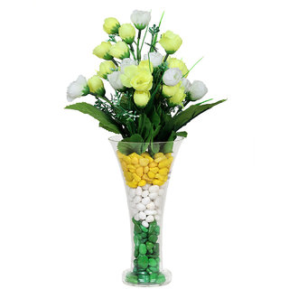 Yellow  White Flower Vase