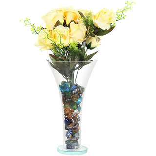 DBoro Transparent Glass Large Size Flower Vase With Yellow Rose  Crystal Stone