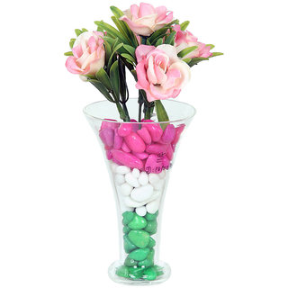 DBoro Transparent Glass Small Size Flower Vase With Off Pink Rose