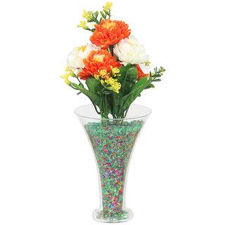 DBoro Transparent Glass Small Size Flower Vase With Orange  White Genda