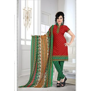 LADYVIEW Red  Green Printed Crepe Dress Material