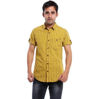 Mufti Mens Khakhi Slim Fit Casual Shirts