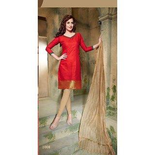 Trendz Apparels Red Pure Banarasi Printed Unstitched Straight Fit Salwar Suit
