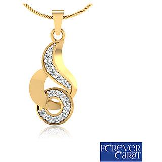 0.21ct Natural White Diamond Studded Pendant 14K Hallmarked Gold Pendant P-0128G