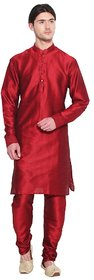 Arose Fashion  Red Silk Kurta Pajama Set
