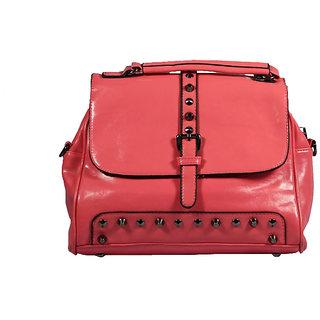 BagsHub Pink Studded Sling Bag