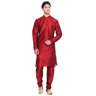 Arose Fashion  Red Silk Kurta Pajama Set