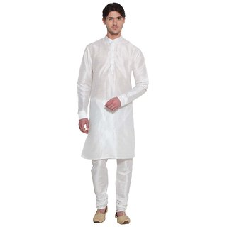 Arose Fashion White Silk Kurta Pajama Set