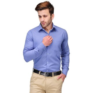DNA - Ultimate Mens Wear Cotton Blend Plain Shirt Office Blue Solid