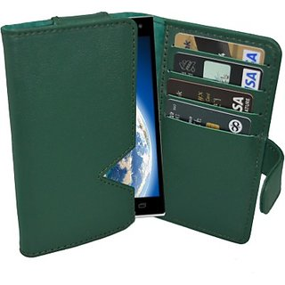 Totta Wallet Case Cover For Iball Andi 4.5 K6 (Green)