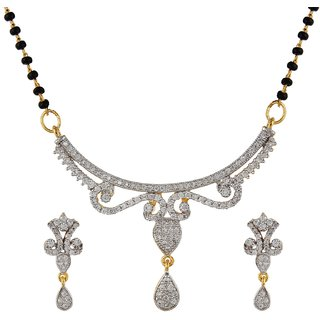 Moda Stella Love Forever Cubic Zerconia with 24 karat gold plated Mangalsutra Set