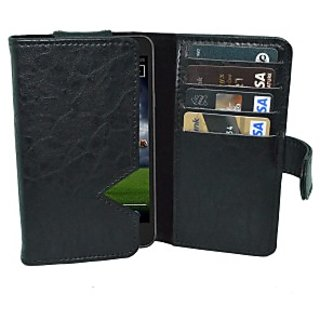 Totta Wallet Case Cover For Intex Cloud Pace (Black)