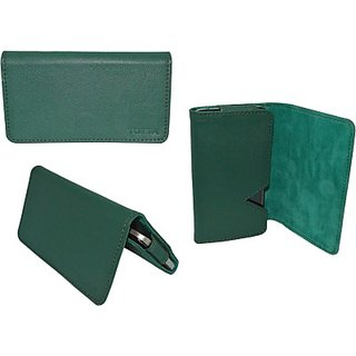 Totta Wallet Case Cover For Intex Cloud Zest (Green)
