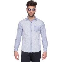 Mufti Men's Blue Slim Fit Casual Shirt