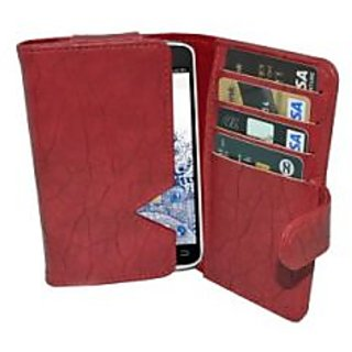 Totta Wallet Case Cover For Spice Smart Flo Crystal Mi 449 (Red)