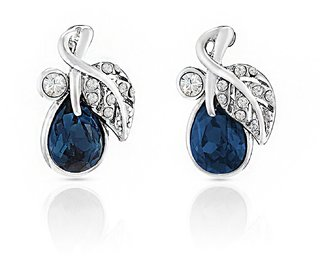 SHEEJAS STORE Rhodium Plated Montana Blue Berry Marquise Elements Earrings For Women