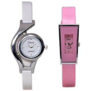 Women Fancy Deginer Multicolor Analog Watch Combo (white  Pink)