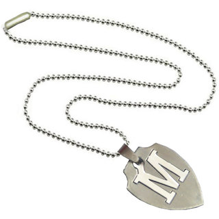 Men Style Alphabet letter M Cutting Silver Stainless Steel Apple Shape  Pendent For Men And Women