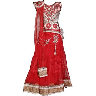Crazeis Embroidered Girls Lehenga, Choli and Dupatta Set