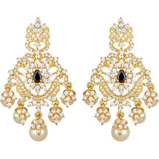 Kushals Fashion Jewellery Zircon Silver Alloy Chandelier Earring