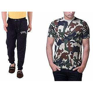 Combo Pack Of Mens Cotton Track Pant With Kangaroo Pocket  Army T-shirt