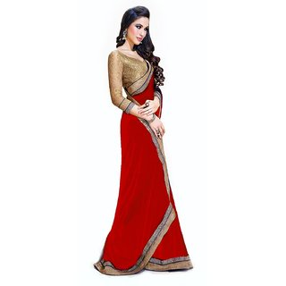 MD Saree Red Chiffon Plain Saree With Blouse