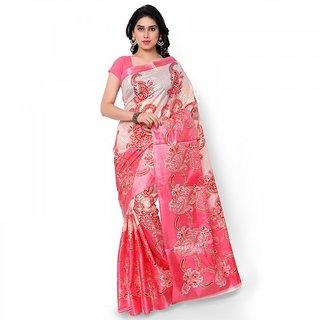 SVB Pink Colour Taffeta Saree Without Blouse Piece