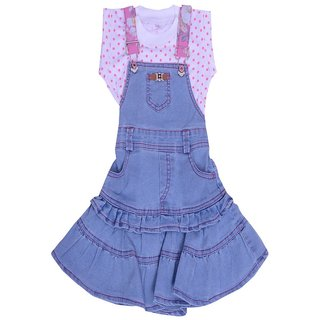Titrit Blue Polka Print Denim Round Neck Party wear Dresses for Girls