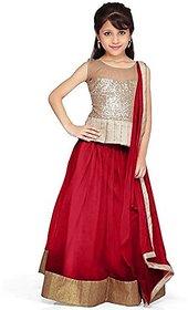 Fashion designer red net partywear kids lehenga choli