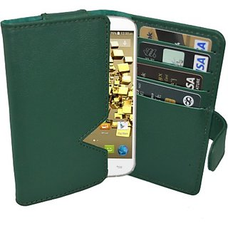 Totta Wallet Case Cover for Micromax Canvas Gold A300 (Green)